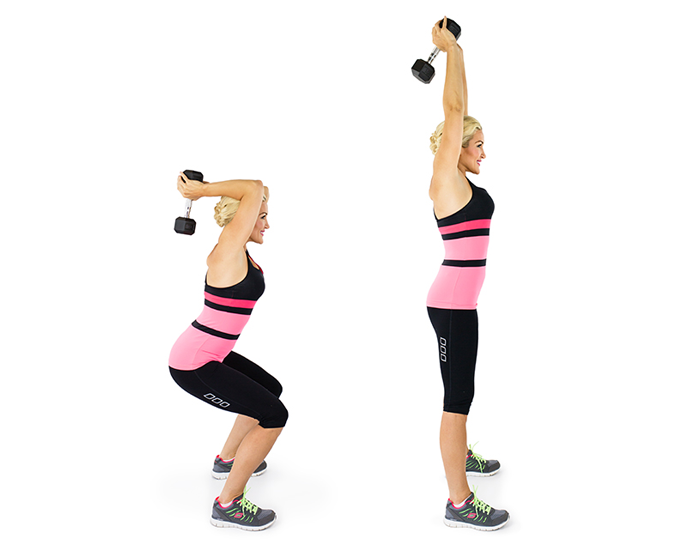 Squats to Overhead Triceps Extension