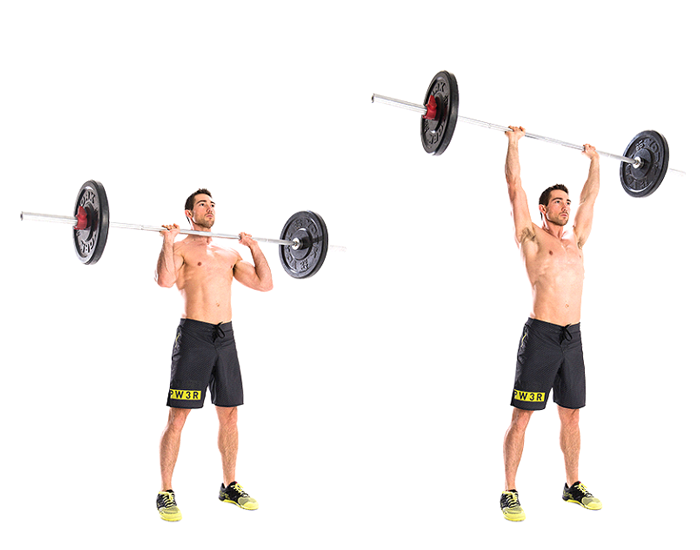 Overhead shoulder press with the hand weight