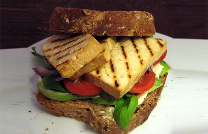 Tofu, Lettuce, and Tomato Sandwich