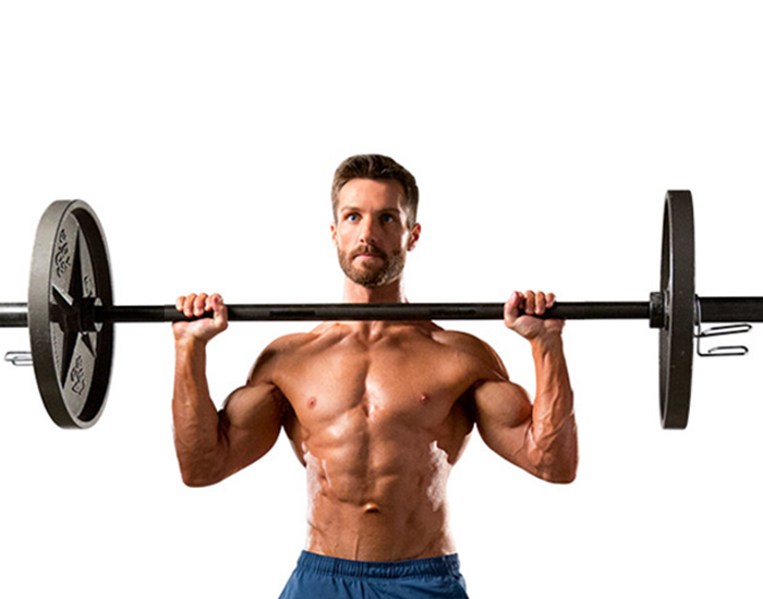 Overhead shoulder press with the barbell