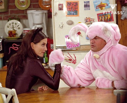 Chandler and Monica's arm wrestling competition